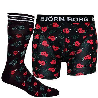 "Bjorn Borg ""Best Dad Ever"" Print Boxer Trunk & Socks Gift Set, Black"