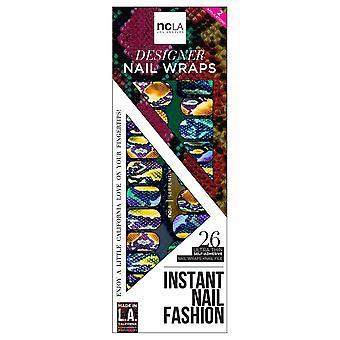 ncLA Los Angeles Instant Nail Fashion Designer Nail Wraps - Serpentine (26 Wraps)