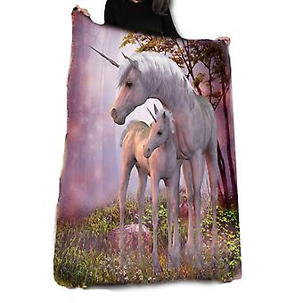 Unicorn family fleece blanket / throw / tapestry