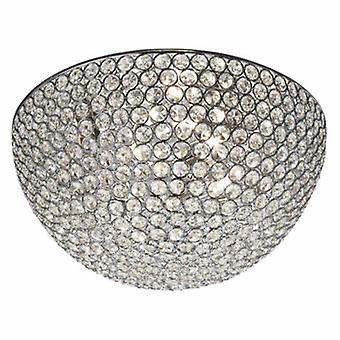 3 Light Flush Ceiling Light Chrome, Crystal Glass