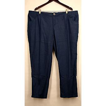 IMAN Petite Pants Skinny Leg Buttoned Pocketed Blue Womens #6