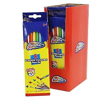 Grafix Erasable Coloured Pencils, 8 Pack