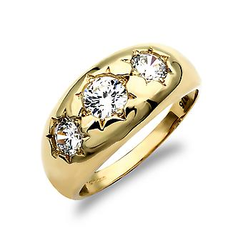 Jewelco London Men's Solid 9ct Yellow Gold White Round Brilliant Cubic Zirconia Star Set 3 Stone Trilogy Gypsy Ring