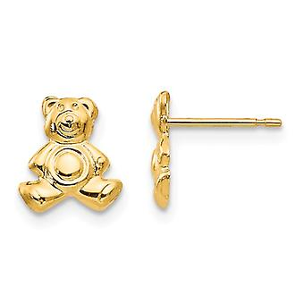 14k Yellow Gold Polished Teddy Bear Post Earrings Jewelry Gifts for Women - .2 Grams