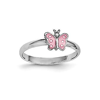925 Sterling Silver Polished Rh Plated for boys or girls Pink Enameled Butterfly Angel Wings Ring - Ring Size: 3 to 4