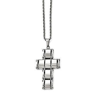 Roestvrij staal gepolijst verplaatsbare religieuze geloof kruis ketting 22 inch sieraden geschenken voor vrouwen