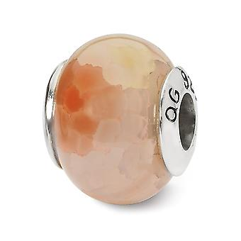 925 Sterling Silver Polished finish Reflections Pink Cracked Agate Stone Bead Charm Pendant Necklace Jewelry Gifts for W