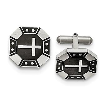 Stainless Steel Matte Black Ip plated Religious Faith Cross Cuff Links Jewelry Gifts for Men
