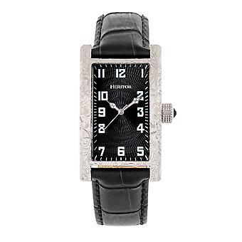 Perinnöor automaattinen Jefferson nahka-Band Watch-hopea/musta
