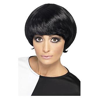 Naisten 60-luvun psykedeelistä musta peruukki naamiaispuku lisävaruste