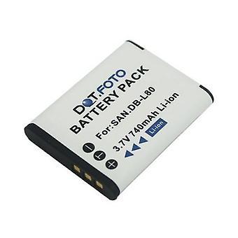 Batterij van de vervanging van de premie van de Sanyo DB-L80 uit Dot.Foto - 3.7V / 740mAh [Zie beschrijving voor compatibiliteit]
