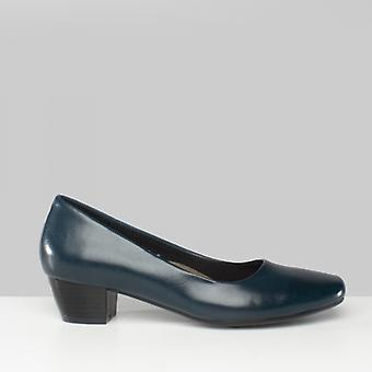 Boulevard Maria Ladies Low Block Heel Court Shoes Navy