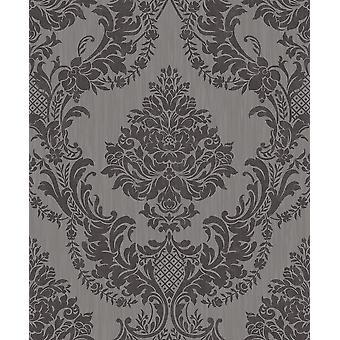 Seleina Damask Vinyl Wallpaper Grey Black Glitter Floral Ornament Texture Holden