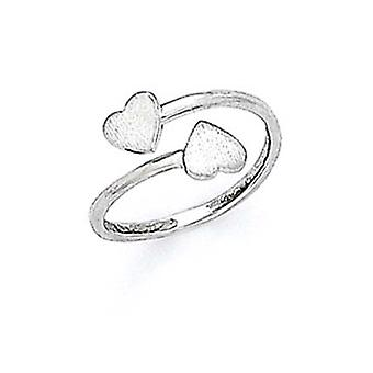 14k White Gold Heart Toe Ring Jewelry Gifts for Women - .9 Grams