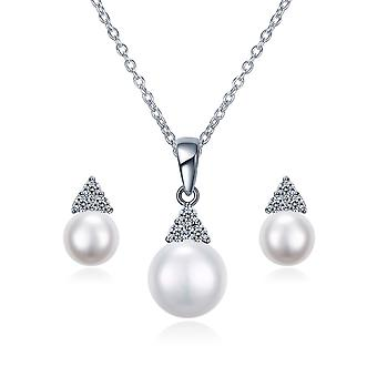 925 Sterling Silver Triangle Pearl Set