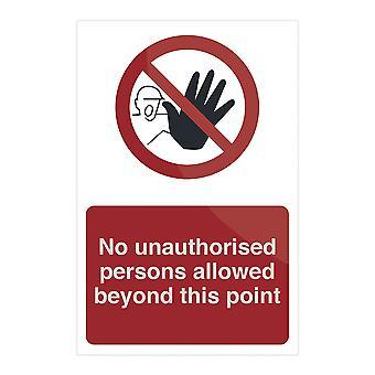Geen onbevoegde personen toegestaan buiten dit punt-200x300mm rigide
