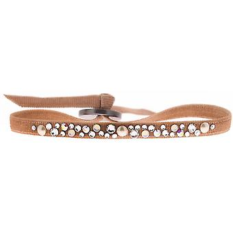Armband verwisselbaar A41164 - stof Beige vrouw Swarovski kristallen armband