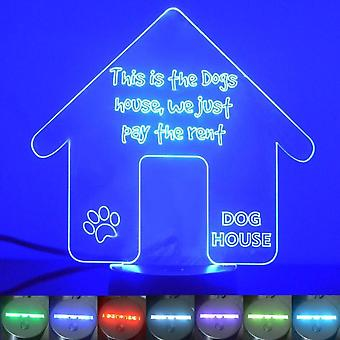 Dog House Kennel hyra Colour Changing LED akryl ljus