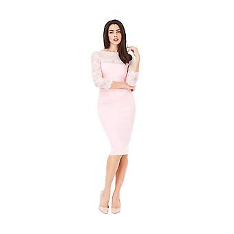 Goddiva Scalloped Lace Neckline Midi Dress