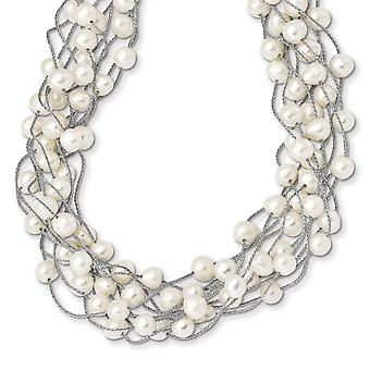 925 Sterling Silver Rh 6 8mm White Freshwater Cultured Pearl Multi strand Necklace 15 Inch
