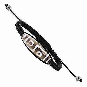 Slip on Adjustable 11x38mm Tibet Eye Agate With Hematite Beads Black Cord Bracelet Jewelry Gifts for Women