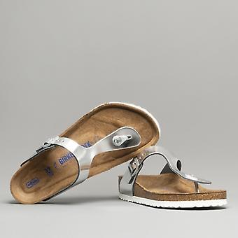 Биркенсток Gizeh 1003674 (рег) Дамы Кожаный ног Пост Сандалии Металлическое серебро