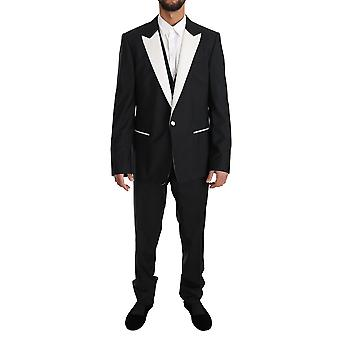 Dolce & Gabbana Black Wool Martini 3 Piece Slim Suit