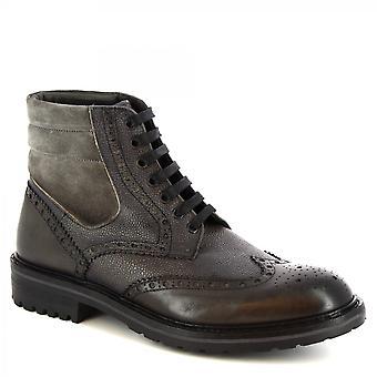 Leonardo Shoes Men's handgemaakte veterige enkellaarzen grijze lederen krokodillenprint