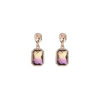 Gold and Lilac Ombre Rectangular Gem Earrings