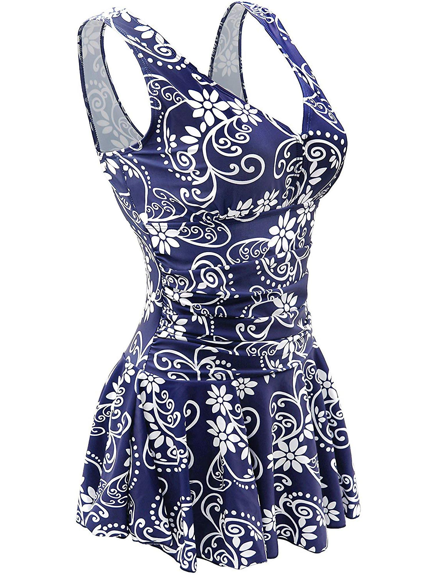 Tallas Grandes Mujer Azul Moda Floral Impresion Swimdress Retro Una Pieza Traje De Bano Fruugo Es