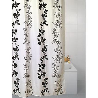 Svart blomma Polyester dusch gardin 180 x 180cm