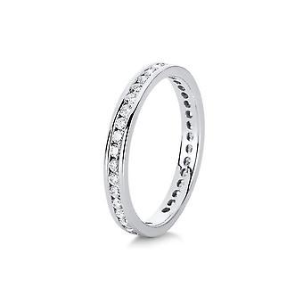 Bague diamant - 18K 750/- or blanc - 0,58 ct.