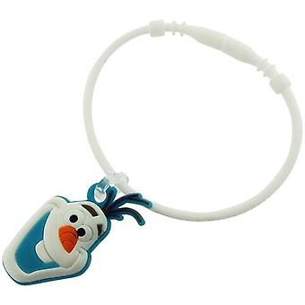 "Disney Frozen Kids Olaf Collectable Charm ""E"" White Rubber Bracelet FJ1574"