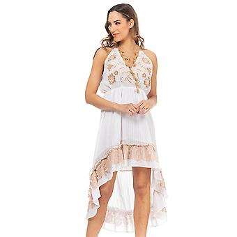 Embroidered chest dress with ethnic details, sleeveless and lace ruffles