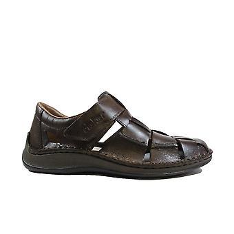 Rieker 05273-25 Hombres de cuero marrón cerrados en sandalias