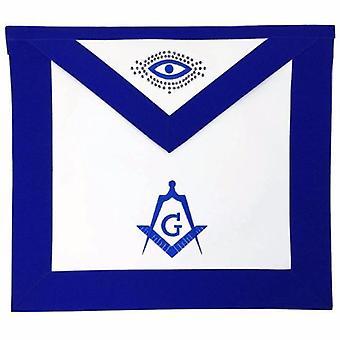 Masonic lodge master mason apron machine embroidery blue