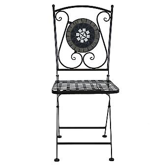 Charles Bentley Round Wrought Iron Mosaic Bistro Set per due look antiquari o orocco da giardino e all'aperto - nero e grigio