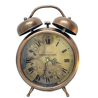 Newton alarm moving cogs bedside clock - copper
