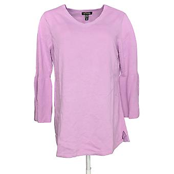 H by Halston Women's Sweater V-Neck Bell Sleeve Tunic Pink A297074 PTC