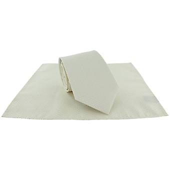 Michelsons of London Semi Plain Tie and Pocket Square Set - Cream