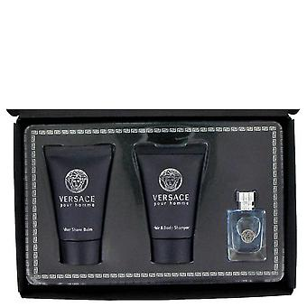 Versace Pour Homme Gift Set By Versace .17 oz Mini EDT + .8 oz After Shave Balm + .8 oz Hair + Body Shampoo