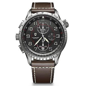 Victorinox Swiss Army Airboss Mach 9 Automatic Grey Dial Brown Leather Strap Homme 24170 RRP - 1 850 euros