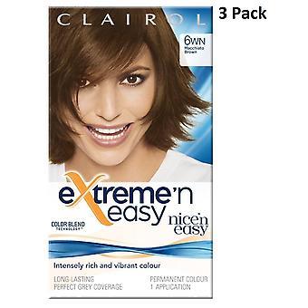 3 x Clairol Extreme 'n Easy Colour Blend Permanent Dye- 6WN Macchiato Brown