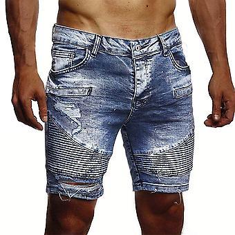 Allthemen Men's Casual Oblique Pocket Pleated Denim Shorts