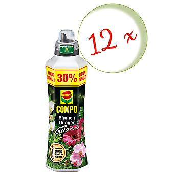 Sparset: 12 x COMPO flower fertilizer with guano, 1.3 liters