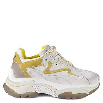 Ash Footwear Addict White And Yellow Distressed Trainer