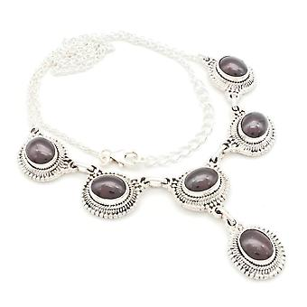 Garnet Necklace 925 Silver Sterling Silver Necklace Red (MCO 08-02)