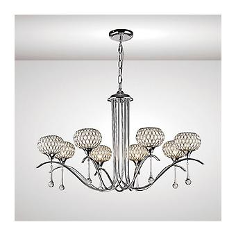Chelsie Pendant Lamp 8 Bulbs Polished Chrome / Transparent Glass