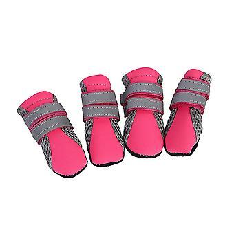 4pcs L Size Pink Dogs Non-Slip Shoes