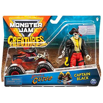 Monster Jam Pirate's Curse 1:64 Scale Monster Truck and Captain Black Creatures Action Figure Set